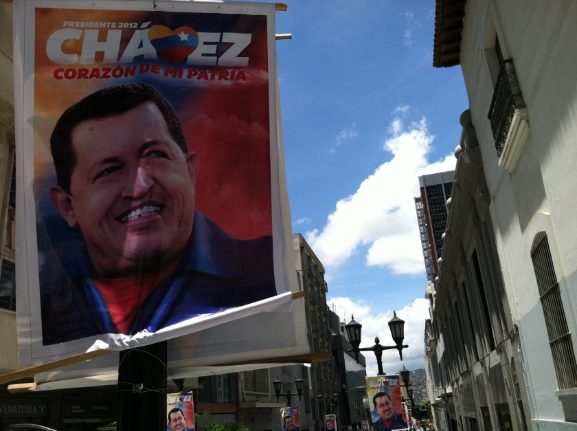 2012 Re-election campaign poster in Caracas City Center