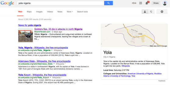 Google Results for Yola Nigeria this morning.